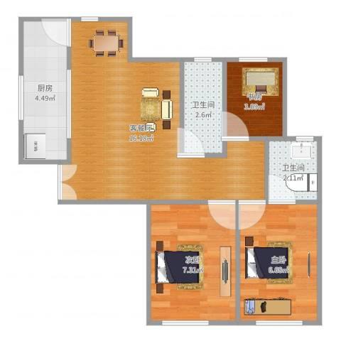 大家源新城3室2厅2卫1厨53.00㎡户型图