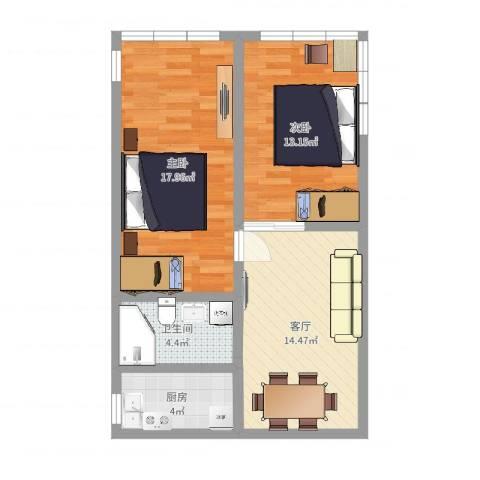 程桥二村2室1厅1卫1厨67.00㎡户型图