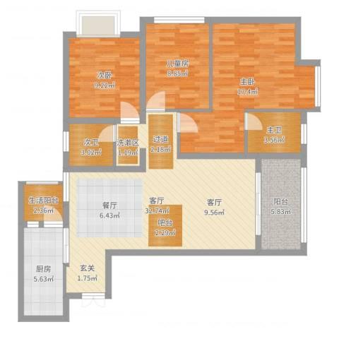 富洲新城户型84²3室1厅1卫1厨111.00㎡户型图