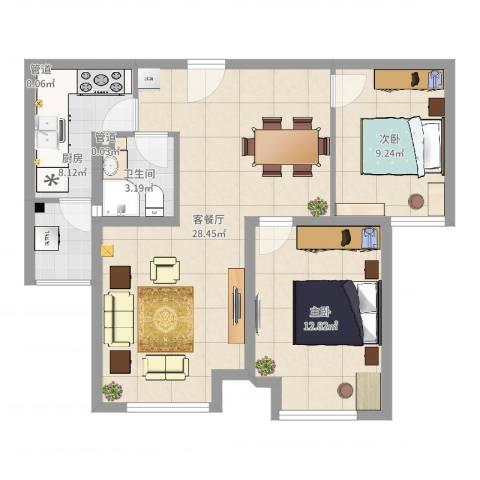 首尔甜城2室2厅1卫1厨77.00㎡户型图