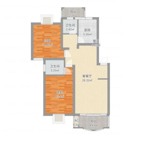 冠生园东方佳苑2室2厅2卫1厨89.00㎡户型图