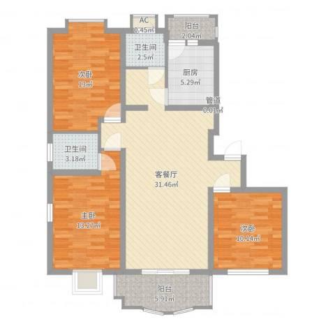 冠生园东方佳苑3室2厅2卫1厨109.00㎡户型图