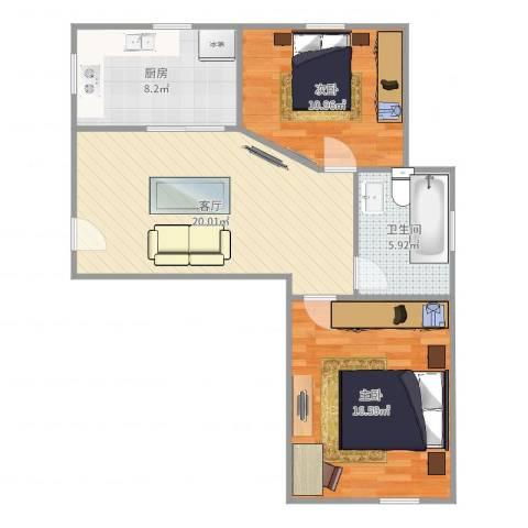 东方康德家园2室1厅1卫1厨77.00㎡户型图