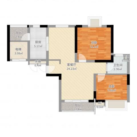 东方御水湾2室2厅1卫1厨75.00㎡户型图
