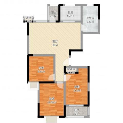 营创美域3室1厅1卫1厨102.00㎡户型图
