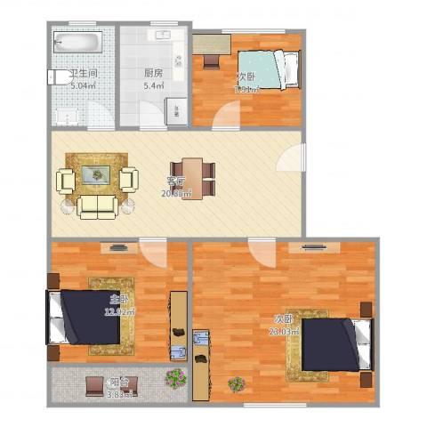 东沟三村3室1厅1卫1厨99.00㎡户型图