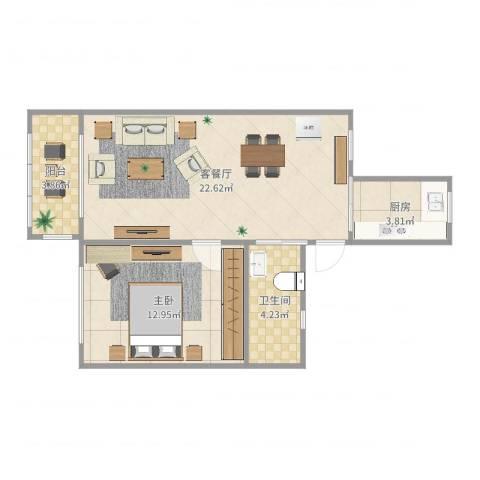 东沟七村1室2厅1卫1厨59.00㎡户型图