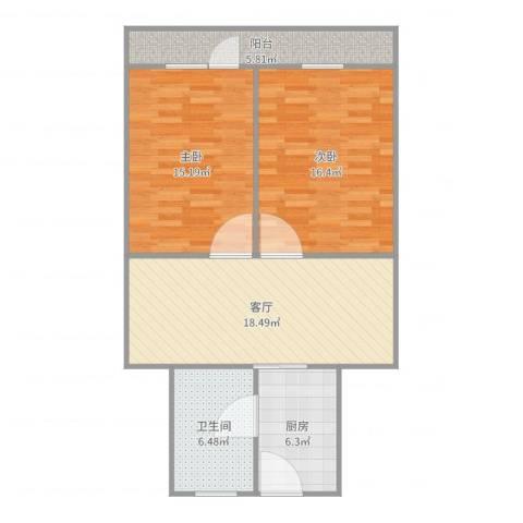 东沟三村2号6032室1厅1卫1厨86.00㎡户型图