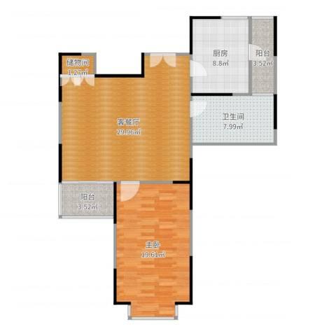 扬子江家园1室2厅1卫1厨93.00㎡户型图