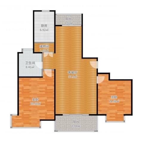 扬子江家园2室2厅1卫1厨124.00㎡户型图