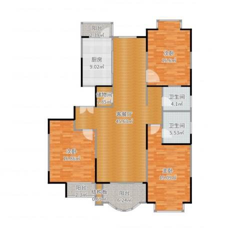 扬子江家园3室2厅2卫1厨163.00㎡户型图