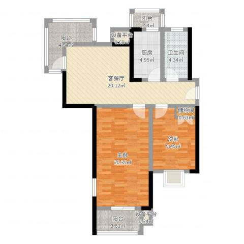 欣安基公寓2室2厅1卫1厨88.00㎡户型图