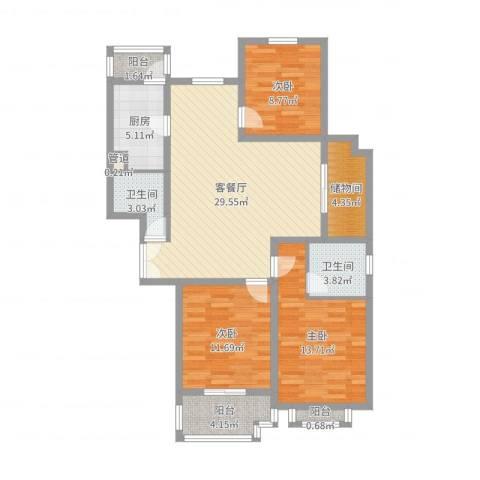 欣安基公寓3室2厅2卫1厨108.00㎡户型图