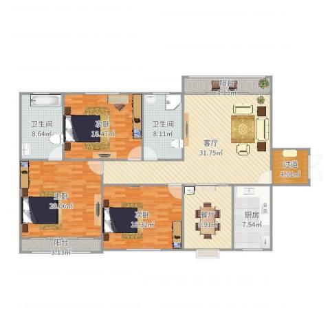 幸运福邸3室2厅2卫1厨163.00㎡户型图
