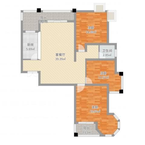 维多利亚花园3室2厅1卫1厨131.00㎡户型图