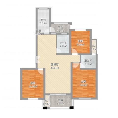 陆宇中央郡3室2厅2卫1厨88.02㎡户型图