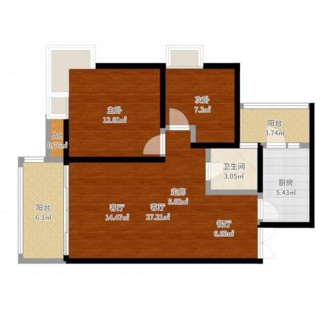 森岭居2室1厅1卫1厨83.00㎡户型图
