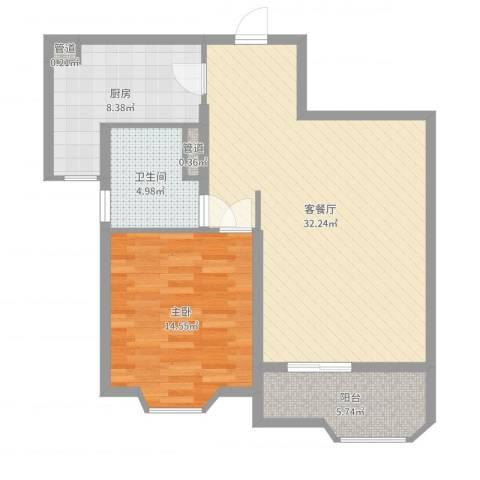 瑞南新苑1室2厅1卫1厨83.00㎡户型图