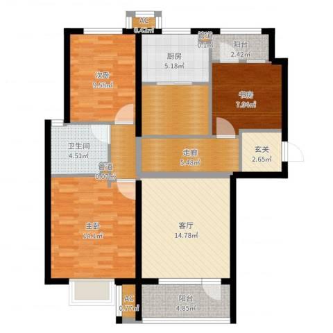 海亮公馆3室1厅1卫1厨101.00㎡户型图