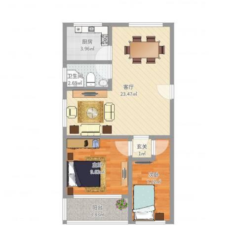 香山新村东北街坊2室1厅1卫1厨65.00㎡户型图