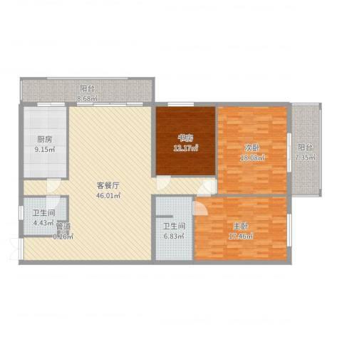 锦绣园3室2厅2卫1厨163.00㎡户型图