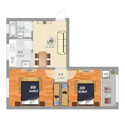 紫鹃新村2室1厅1卫1厨62.00㎡户型图