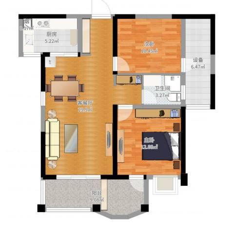 联发君悦湖2室2厅1卫1厨97.00㎡户型图