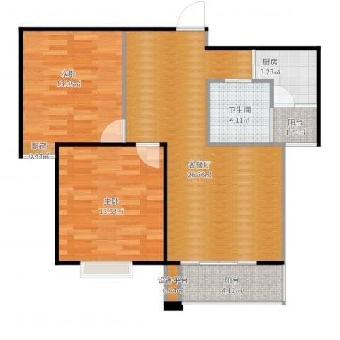滨湖品阁2室2厅1卫1厨91.00㎡户型图