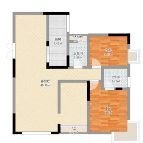 国奥村二期2室2厅4卫1厨111.00㎡户型图
