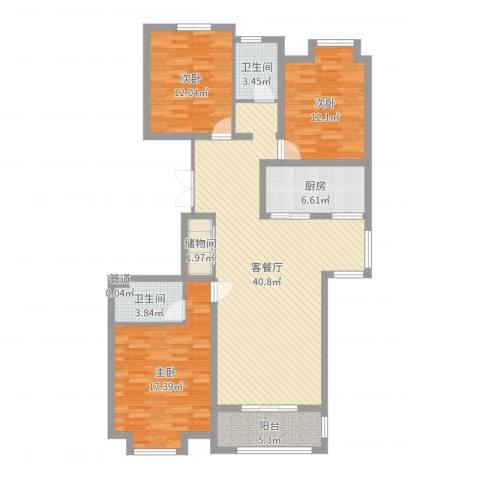 巨海城8区3室2厅2卫1厨129.00㎡户型图