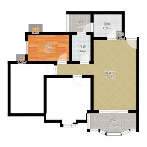 祈福新村康怡居1室2厅1卫1厨61.00㎡户型图