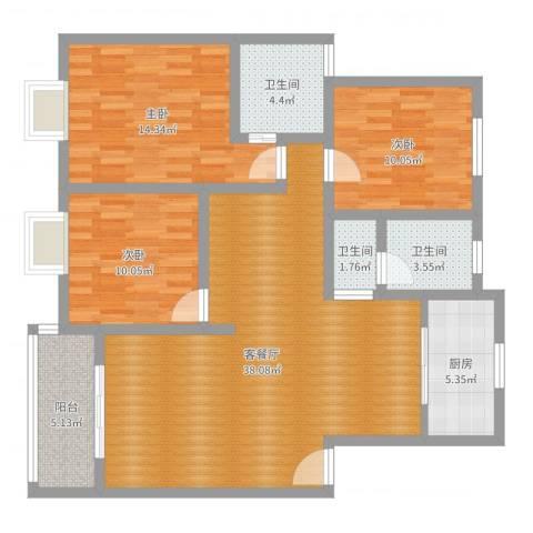 新民旺苑69#5023室2厅3卫1厨116.00㎡户型图