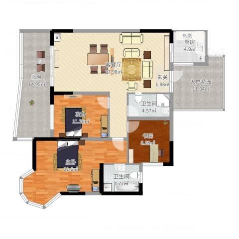 凯信水韵滨江二期公园大帝3室2厅2卫1厨169.00㎡户型图