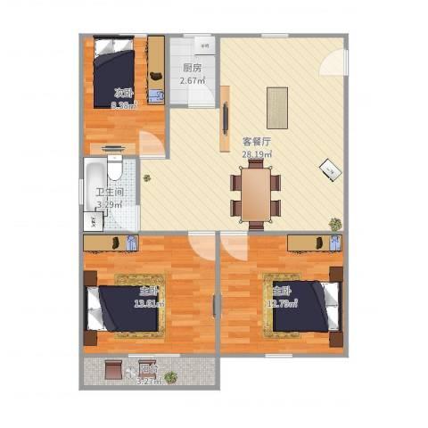 斜土路1212弄公房3室2厅1卫1厨90.00㎡户型图