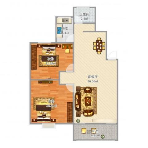 斜土路1212弄公房2室2厅1卫1厨98.00㎡户型图