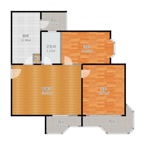 瑞南新苑2室2厅1卫1厨119.00㎡户型图