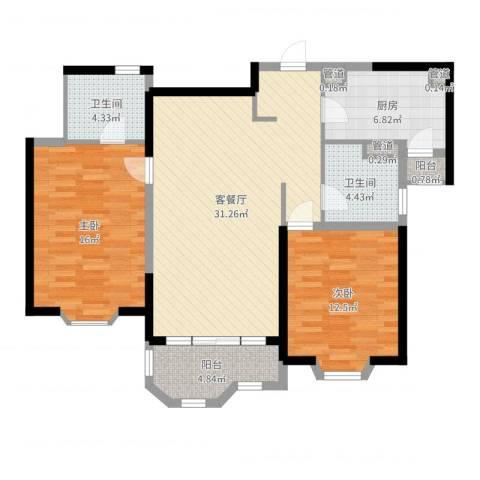 瑞南新苑2室2厅2卫1厨102.00㎡户型图