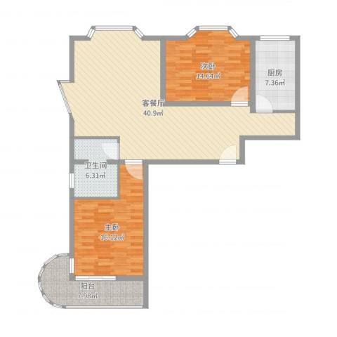 天歌大厦公寓2室2厅1卫1厨117.00㎡户型图