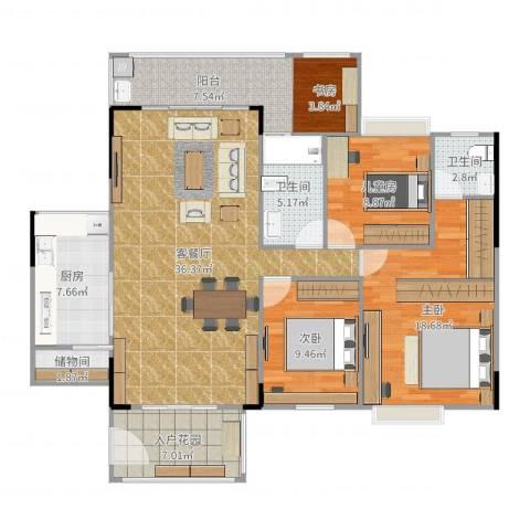 尚东雅轩4室2厅2卫1厨137.00㎡户型图