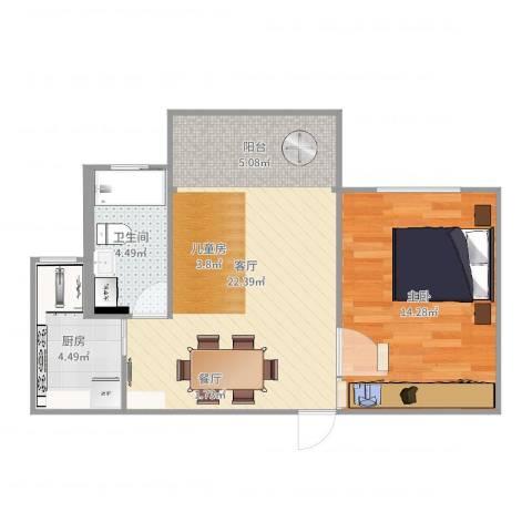 欣松苑1室1厅1卫1厨57.00㎡户型图