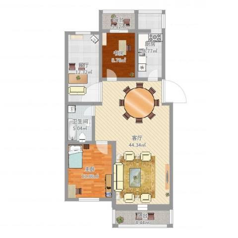 长达公寓2室2厅1卫1厨126.00㎡户型图