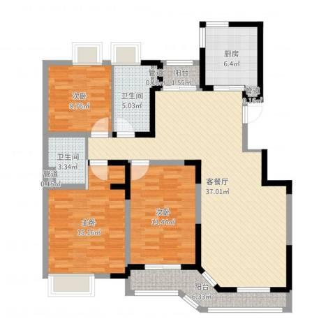 景鸿苑3室2厅2卫1厨122.00㎡户型图