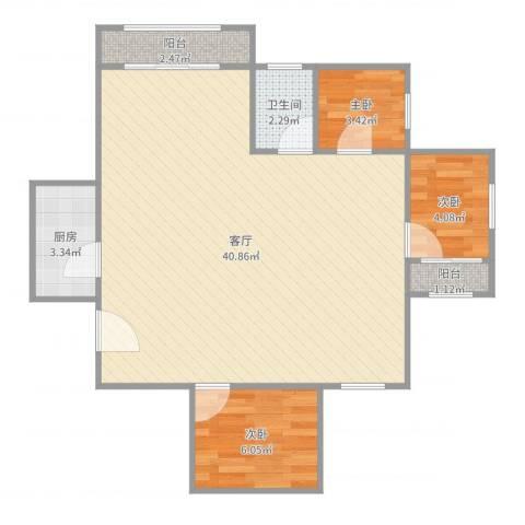 瑞金新苑3室1厅1卫1厨80.00㎡户型图