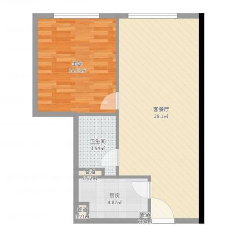 日月光中心伯爵居1室2厅1卫1厨64.00㎡户型图