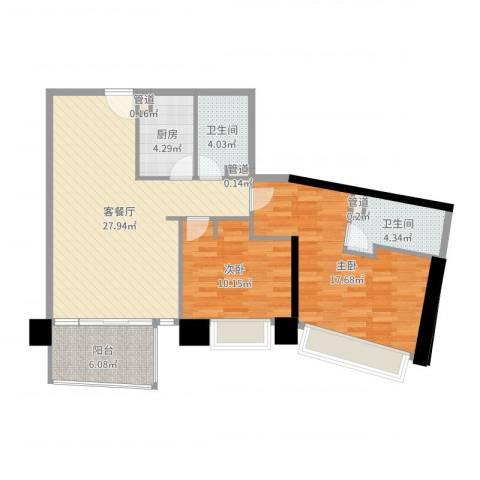 日月光中心伯爵居2室2厅2卫1厨94.00㎡户型图