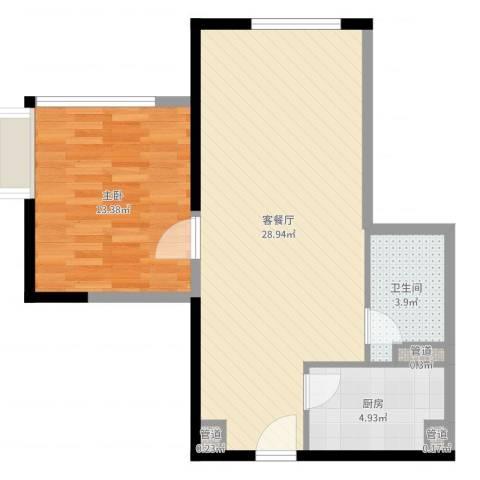 日月光中心伯爵居1室2厅1卫1厨65.00㎡户型图