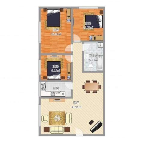 杨王村公寓3室1厅1卫1厨112.00㎡户型图