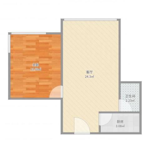日月光中心1室1厅1卫1厨54.00㎡户型图
