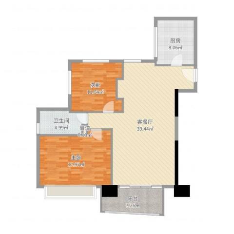 日月光中心伯爵居2室2厅1卫1厨112.00㎡户型图