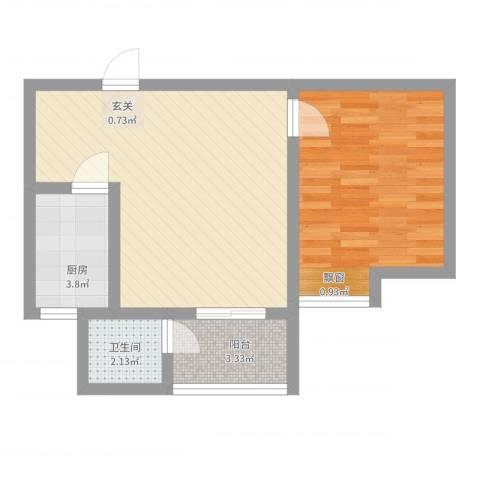 万润城市花园1室2厅1卫1厨61.00㎡户型图